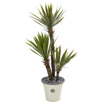 53 Yucca Artificial Tree in Decorative Planter - SKU #9965