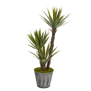 52 Yucca Artificial Tree in Embossed Black Planter - SKU #9966