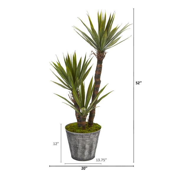 52 Yucca Artificial Tree in Embossed Black Planter - SKU #9966 - 1