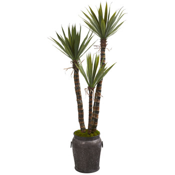 61 Yucca Artificial Tree in Metal Planter - SKU #9967