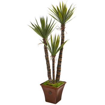 60 Yucca Artificial Tree in Brown Planter - SKU #9968