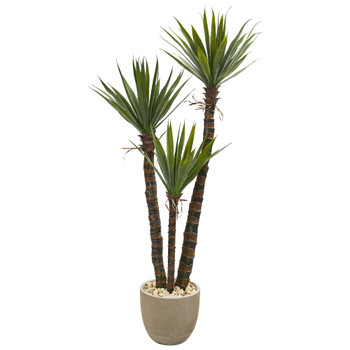 60 Yucca Artificial Tree in Sandstone Planter - SKU #9969