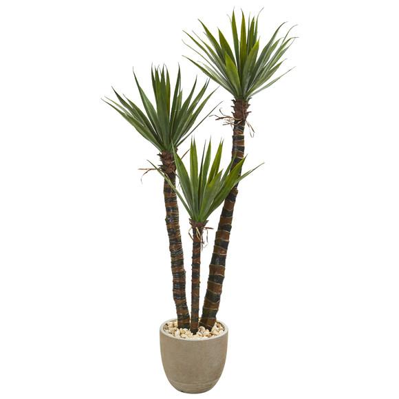 60 Yucca Artificial Tree in Sandstone Planter - SKU #9969
