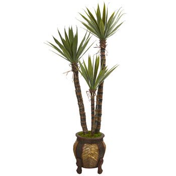 61 Yucca Artificial Tree in Decorative Planter - SKU #9970