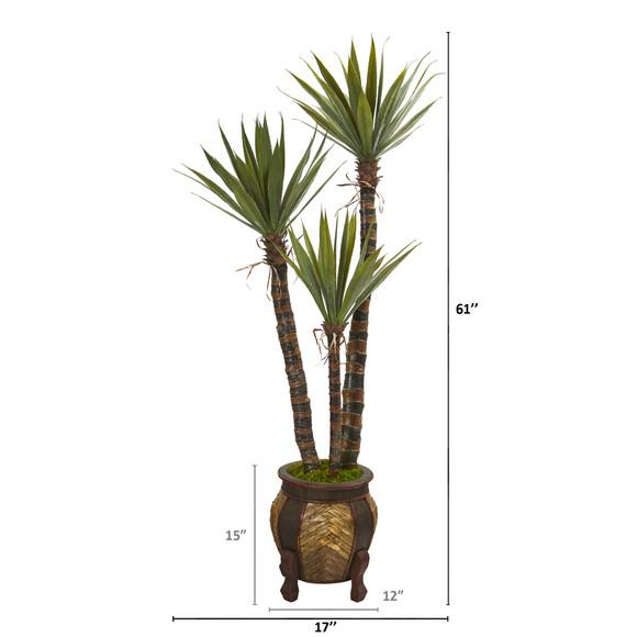 61 Yucca Artificial Tree in Decorative Planter - SKU #9970 - 1