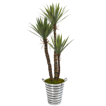 63 Yucca Artificial Tree in Tin Bucket - SKU #9971