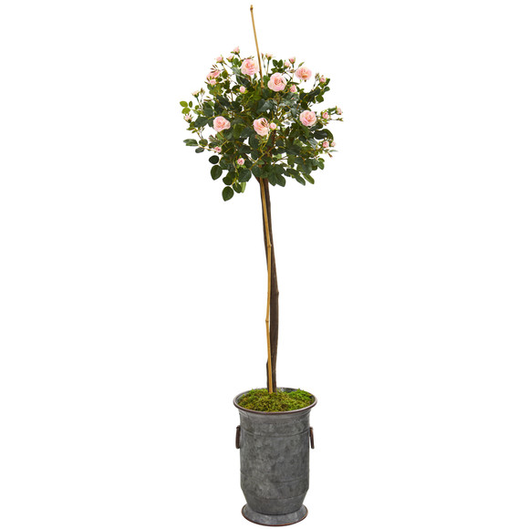 56 Rose Topiary Artificial Tree in Vintage Metal Planter - SKU #9972