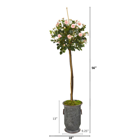 56 Rose Topiary Artificial Tree in Vintage Metal Planter - SKU #9972 - 1