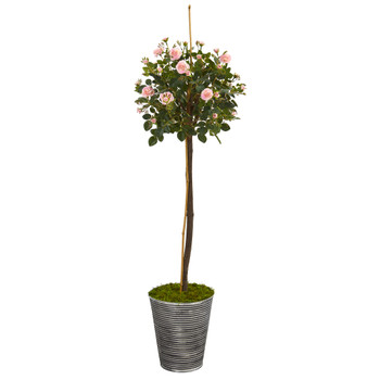 55 Rose Topiary Artificial Tree in Planter with Black Pattern - SKU #9973
