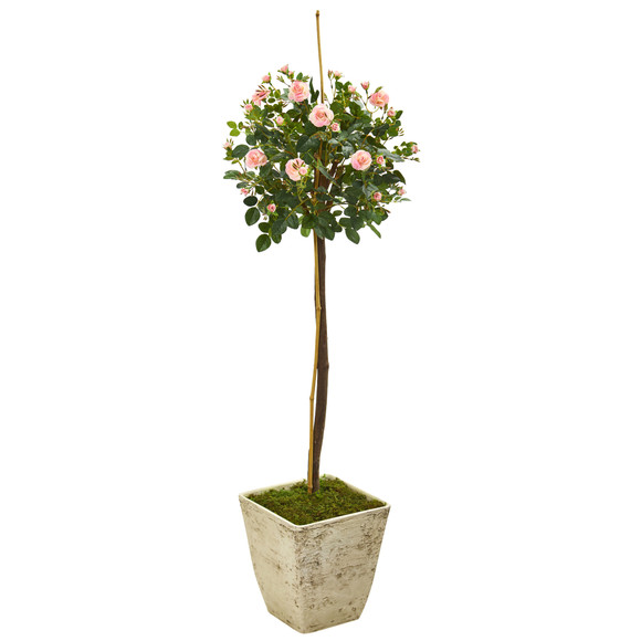 53 Rose Topiary Artificial Tree in Country White Planter - SKU #9974