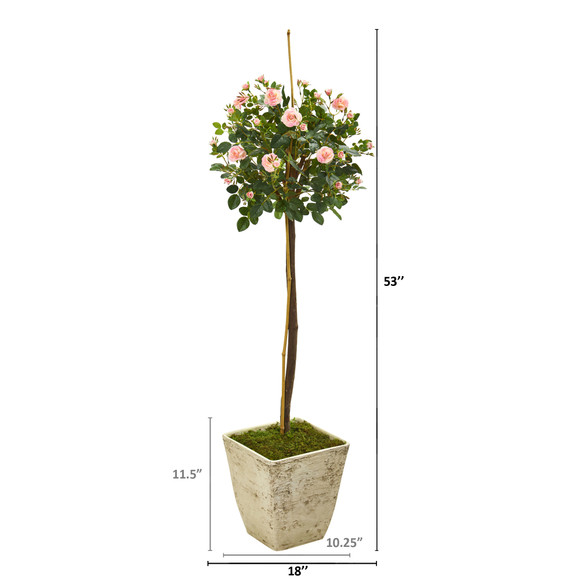 53 Rose Topiary Artificial Tree in Country White Planter - SKU #9974 - 1