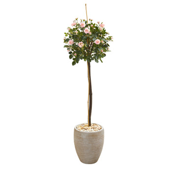 57 Rose Topiary Artificial Tree in Sand Colored Planter - SKU #9975