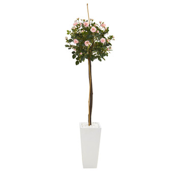 5 Rose Topiary Artificial Tree in White Planter - SKU #9976