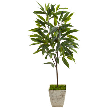 50 Ficus Artificial Plant in Country White Planter - SKU #9978