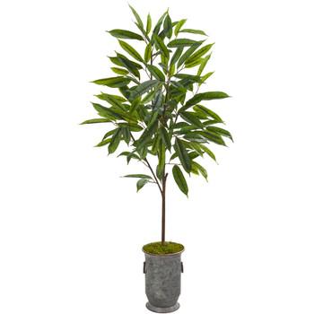 53 Ficus Artificial Plant in Vintage Metal Planter - SKU #9979
