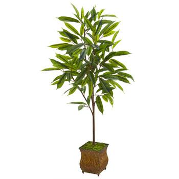 50 Ficus Artificial Plant in Decorative Metal Planter - SKU #9980