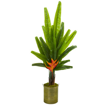 56 Travelers Palm Artificial Tree in Green Planter - SKU #9982