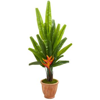 4.5 Travelers Palm Artificial Tree in Terra-Cotta Planter - SKU #9983