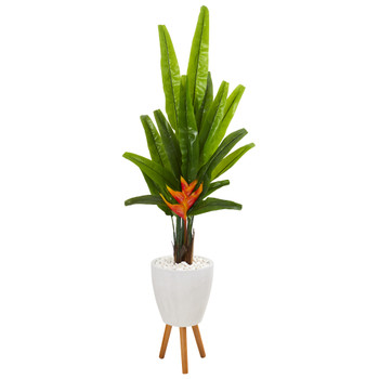64 Travelers Palm Artificial Tree in White Planter with Stand - SKU #9985
