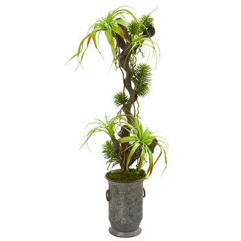 47 Tillandsia Artificial Plant in Vintage Metal Planter - SKU #9987