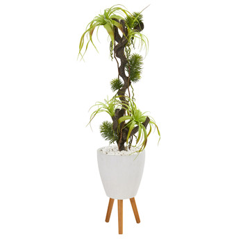 55 Tillandsia Artificial Plant in White Planter with Stand - SKU #9990
