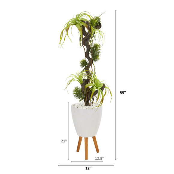 55 Tillandsia Artificial Plant in White Planter with Stand - SKU #9990 - 1