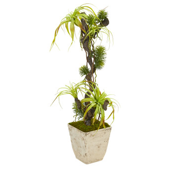 45 Tillandsia Artificial Plant in Country White Planter - SKU #9991
