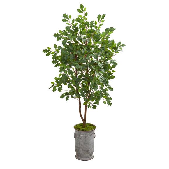 57 Oak Artificial Tree in Vintage Metal Planter - SKU #9993