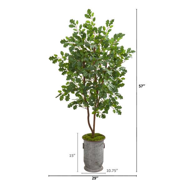 57 Oak Artificial Tree in Vintage Metal Planter - SKU #9993 - 1