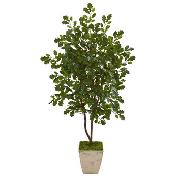 53 Oak Artificial Tree in Country White Planter - SKU #9994