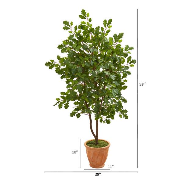 53 Oak Artificial Tree in Terra-Cotta Planter - SKU #9995 - 1