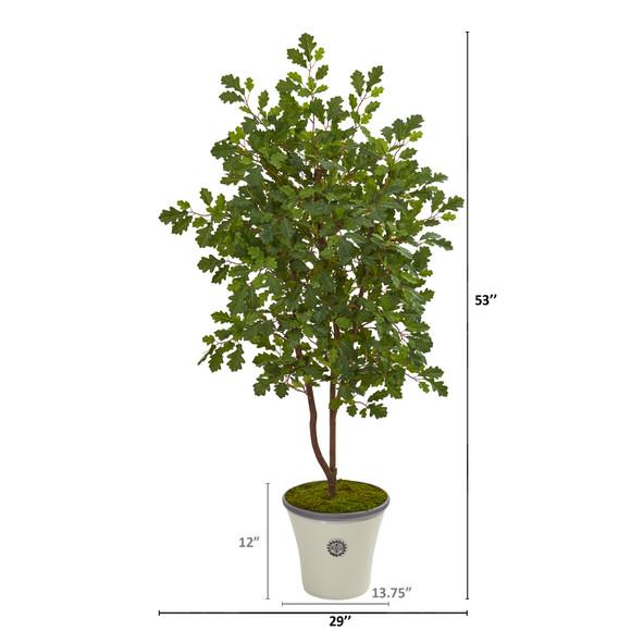 53 Oak Artificial Tree in Decorative Planter - SKU #9996 - 1