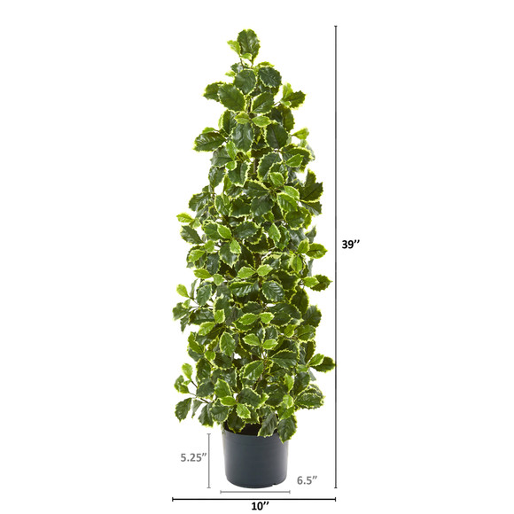 39 Variegated Holly Leaf Artificial Tree Real Touch - SKU #9997 - 1