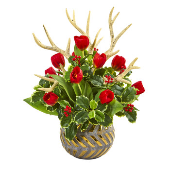 Tulips Antlers and Holly Leaf Artificial Arrangement in Bowl - SKU #A1000-RD