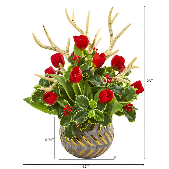 Tulips Antlers and Holly Leaf Artificial Arrangement in Bowl - SKU #A1000-RD - 1