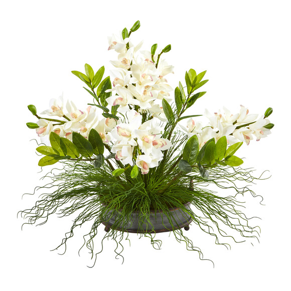 Cymbidium Orchid and Zamioculcas Artificial Arrangement - SKU #A1001-WH