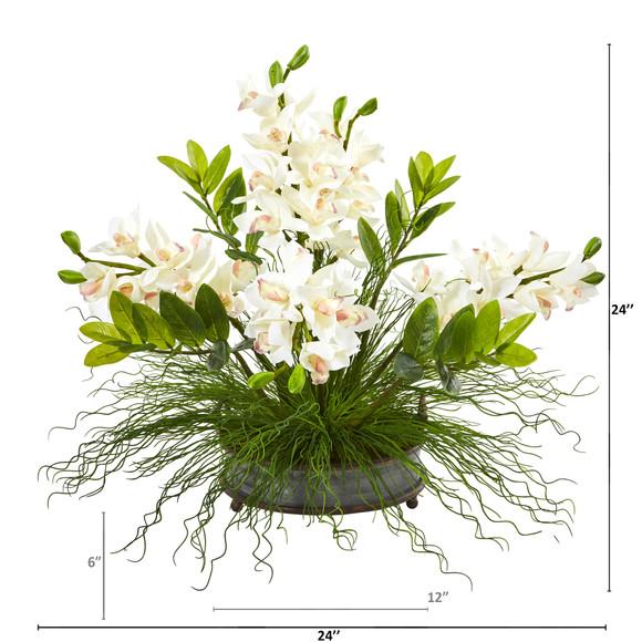 Cymbidium Orchid and Zamioculcas Artificial Arrangement - SKU #A1001-WH - 1