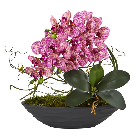 Phalaenopsis Orchid Artificial Arrangement in Decorative Planter - SKU #A1002-PC