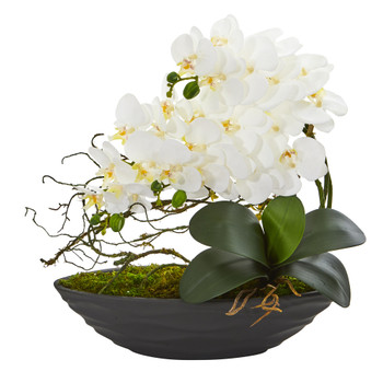 Phalaenopsis Orchid Artificial Arrangement in Decorative Planter - SKU #A1002