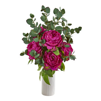 Peony and Eucalyptus Artificial Arrangement in White Vase - SKU #A1004-OR