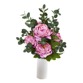 Peony and Eucalyptus Artificial Arrangement in White Vase - SKU #A1004-PK
