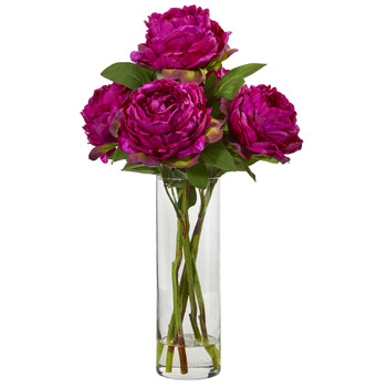 Peony Artificial Arrangement in Glass Vase - SKU #A1005-OR