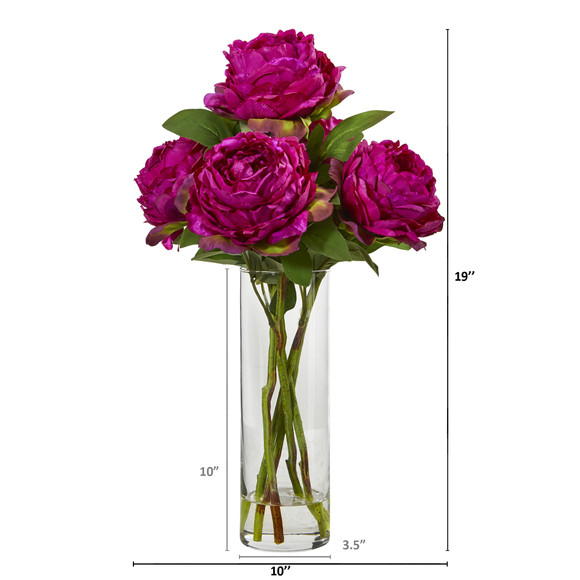 Peony Artificial Arrangement in Glass Vase - SKU #A1005-OR - 1