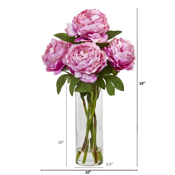 Peony Artificial Arrangement in Glass Vase - SKU #A1005 - 3