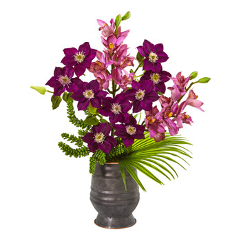 Cymbidium Orchid Anemone Succulent and Fan Palm Artificial Arrangement - SKU #A1006