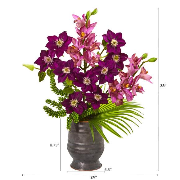 Cymbidium Orchid Anemone Succulent and Fan Palm Artificial Arrangement - SKU #A1006 - 1