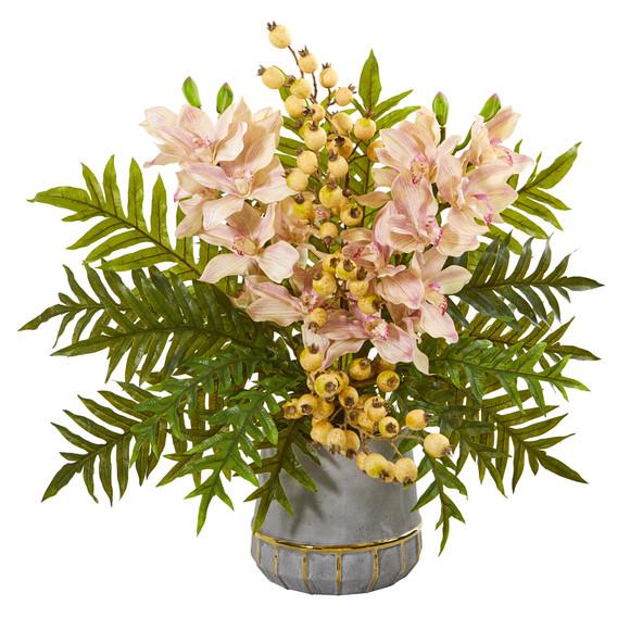 Cymbidium Orchid Pomegranate and Fern Artificial Arrangement - SKU #A1007