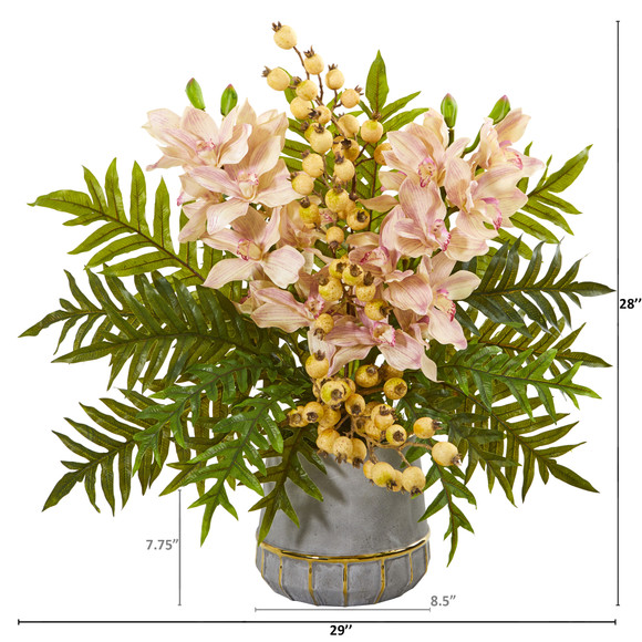 Cymbidium Orchid Pomegranate and Fern Artificial Arrangement - SKU #A1007 - 1