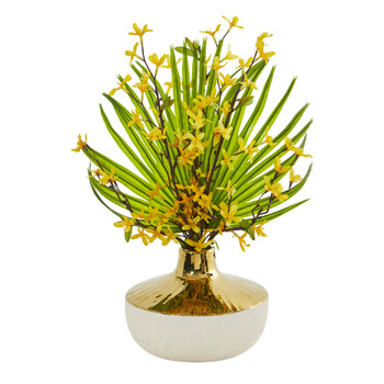 Forsythia and Fan Palm Artificial Arrangement - SKU #A1009