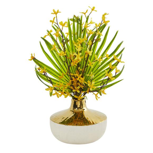 Forsythia and Fan Palm Artificial Arrangement - SKU #A1009